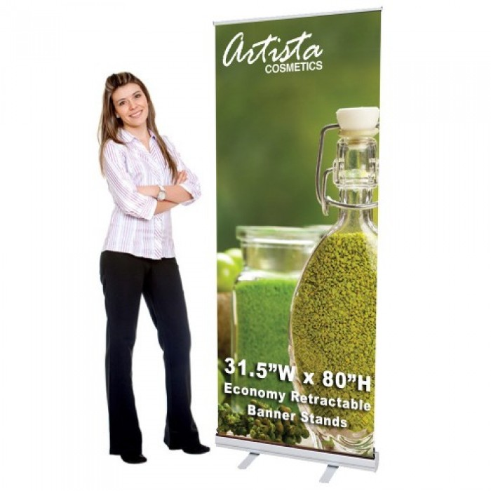 31.5 x 80 Economy Retractable Banner Stand & Graphic Print
